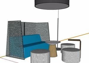 餐廳卡座區沙發桌凳組合SU(草圖大師)模型