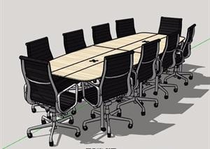 現代十人座會議桌椅素材設計SU(草圖大師)模型
