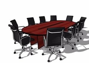 新中式風格十人座會議桌椅設計SU(草圖大師)模型