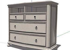 簡歐風床頭柜抽屜柜設計SU(草圖大師)模型