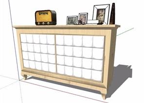 現代邊柜儲物柜及陳設SU(草圖大師)模型