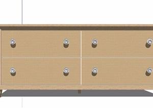 簡約儲物柜電視柜設計SU(草圖大師)模型