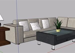 現代風格多人沙發及茶幾組合家具SU(草圖大師)模型