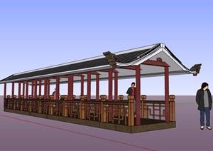 经典中式风格景观长廊设计SU(草图大师)模型