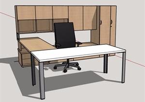 簡約書桌椅及儲物柜組合家具SU(草圖大師)模型