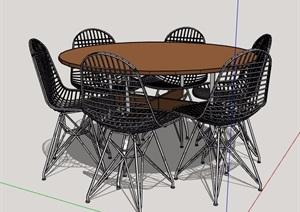 現代風格六人座圓形桌椅組合SU(草圖大師)模型