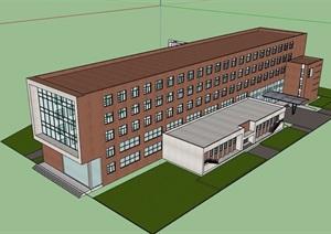 多層現代教學樓設計SU(草圖大師)模型