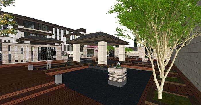 新中式别墅庭院su模型[原创]