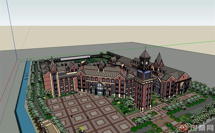欧式风格详细的多层学校教学楼su模型