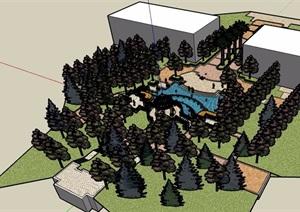 歐式住宅部分景觀設計SU(草圖大師)模型
