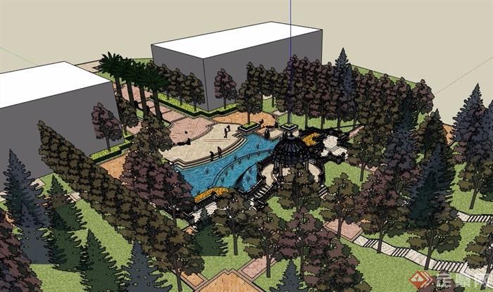 欧式住宅部分景观设计su模型