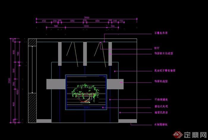 室内壁挂电视背景墙设计cad施工图