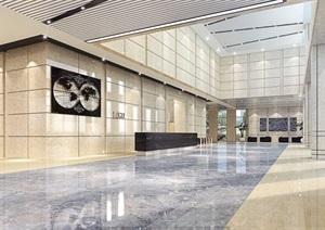 现代风格办公楼室内空间渲染