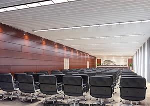 一个现代风格大型会议室空间渲染