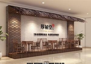 古典中式风格商业背景墙设计SU(草图大师)模型