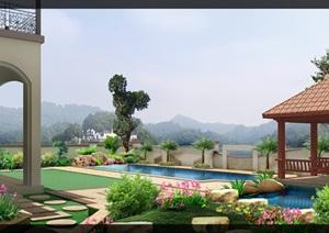 庭院私家花园屋顶花园效果图