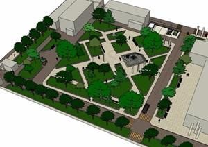 某详细办公环境景观设计SU(草图大师)模型