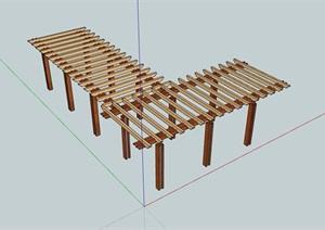 某現代木質詳細廊架SU(草圖大師)模型