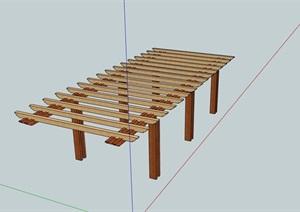 現代防腐木廊架設計SU(草圖大師)模型