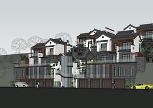 精細的山地中式別墅SU(草圖大師)模型