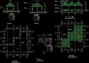 完整詳細的涼亭設計cad施工圖
