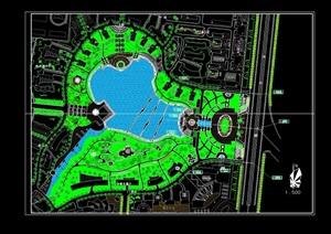 某详细的软件园临湖绿化cad平面