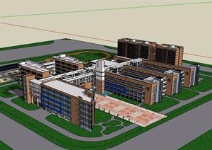 中心學校多層詳細的教育建筑樓設計SU(草圖大師)模型