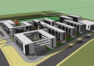 一個校園住宅多層建筑SU(草圖大師)模型