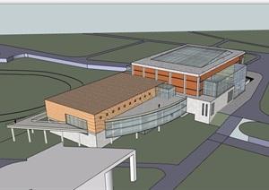 學院風體育館設計SU(草圖大師)模型