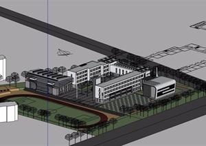 現代小學四層建筑樓設計SU(草圖大師)模型