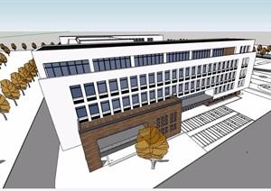 詳細的中學教學樓設計SU(草圖大師)精模