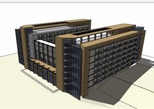 現代學校教學樓六層建筑設計SU(草圖大師)模型