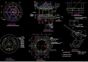 整體完整的亭子設計cad施工圖