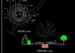 圓形詳細的樹池設計cad施工圖