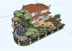 某美式风格别墅庭院花园SU(草图大师)模型