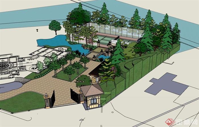欧式别墅私人庭院花园su模型,模型为欧式风格,模型有材质贴图,包含了亭子、廊架、园桥、水池、排球场地设计,模型细节处理完整详细,有需要请下载。