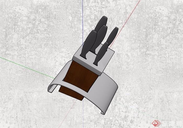 精品厨房空间刀具盒设计su模型