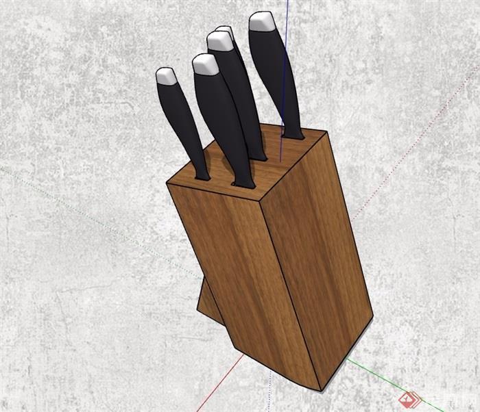 木质刀具盒设计su模型