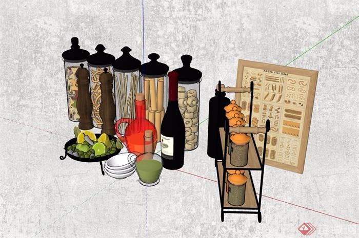 精品厨房装饰摆件设计su模型