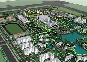 某校园教学楼及景观规划SU(草图大师)模型