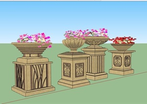 四种不同的欧式花钵设计SU(草图大师)模型