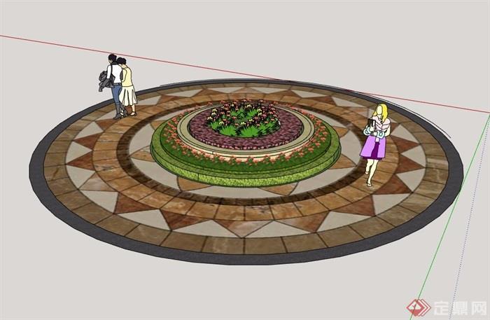 整体圆形花坛设计su模型