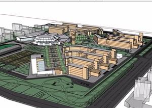 现代详细的学校教学楼及景观规划设计SU(草图大师)模型