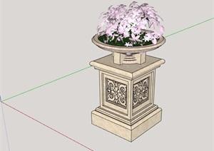 欧式风格完整的花钵SU(草图大师)模型