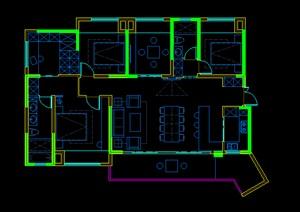极简客厅装修方案CAD平面布置图