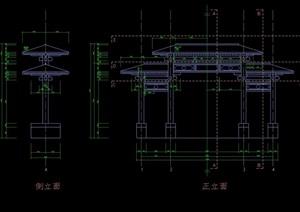 仿古典牌楼大门初步设计cad方案