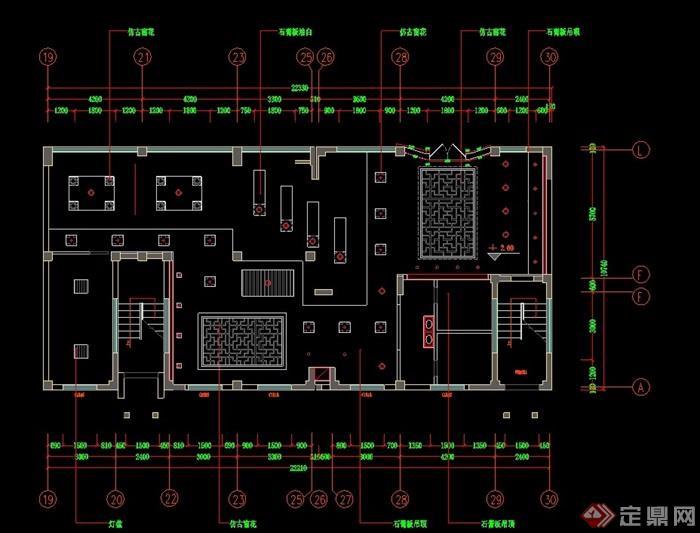 徽派风格售楼部装修设计cad施工图