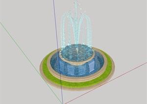 圆形水钵喷泉设计SU(草图大师)模型