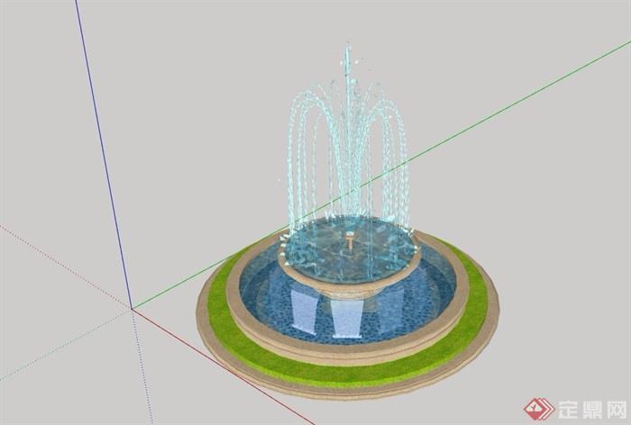 圆形水钵喷泉设计su模型