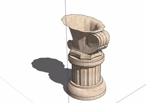 花钵柱素材设计SU(草图大师)模型